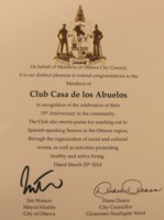 Highlight for Album: Jim Watson (Mayor), Diane Deans (Ottawa South Councillor) April 2014 - 10 Years of sustained community work at Club Casa de los Abuelos