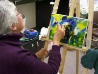 Highlight for Album: Leonardo and Irene: free oil painting seminar (abstract painting)Nov 21, 2007-Gracias!